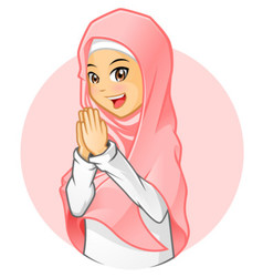 Muslim girl with salutation pose vector