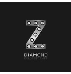 Silver z letter vector