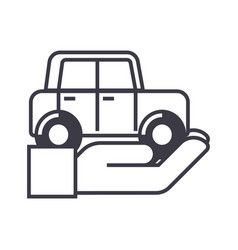 auto insurancecar in hand line icon sign vector image