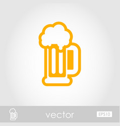 Beer mug outline icon summer vacation vector