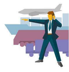 businessman show the way to different vehicles vector image vector image