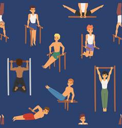 cartoon horizontal chin-up street workout strong vector image