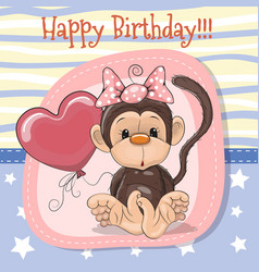 Cute cartoon monkey with balloon vector