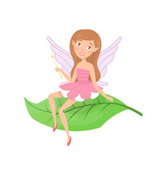 cute forest fairy sitting on green leaf adorable vector image