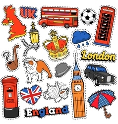England Travel Scrapbook Stickers Patches Badges vector image