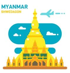 Flat design shwedagon pagoda vector