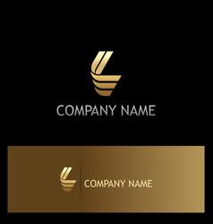 gold letter l shape logo vector image