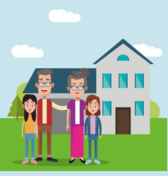 Grandparents with girls house bakcground vector
