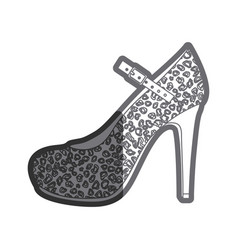 gray thick contour of high heel shoe with stain vector image vector image