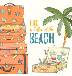 hand drawn holiday travel card vector image vector image