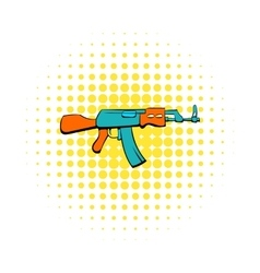 Kalashnikov assault rifle icon comics style vector
