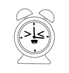 kawaii clock alarm time school icon vector image
