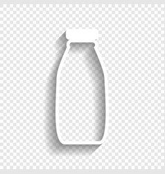 Milk bottle sign white icon with soft vector