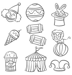 Object circus hand draw doodles vector