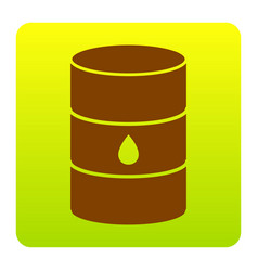 Oil barrel sign brown icon at green vector