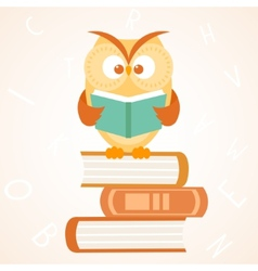 owl reading a book vector image vector image