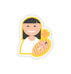 Paper sticker mother and daughter on white vector