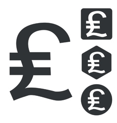 Pound sterling icon set monochrome vector