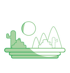 Silhouette mountains with cactus and plants with vector