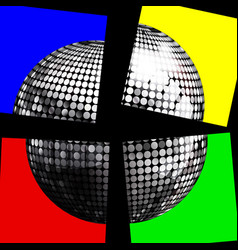 silver disco ball on four panels over black vector image