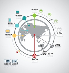 Timeline infographic world design template vector