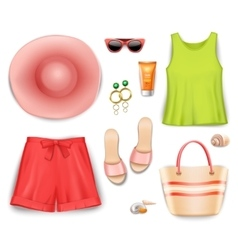 Women beach clothing accessories set vector