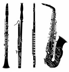 Woodwind musical instruments vector