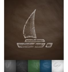 Yacht icon hand drawn vector
