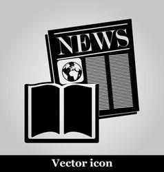 Book and newspaper isolated on background vector image