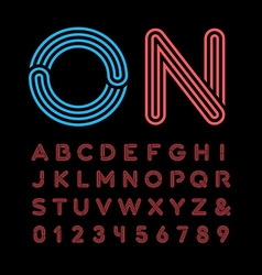 Neon font alphabet with neon effect letters and vector