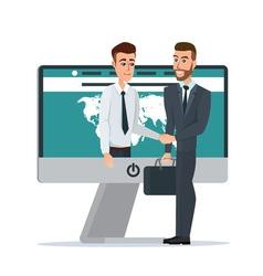 Business dealing handshake business through the vector