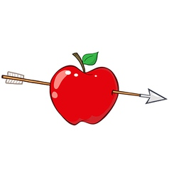 Arrow through red apple vector