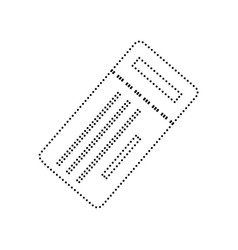 Ticket simple sign  black dotted icon on vector