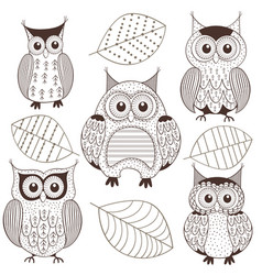 Set of isolated monochrome owls vector