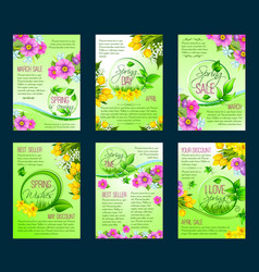 Spring season sale poster discount flyer template vector