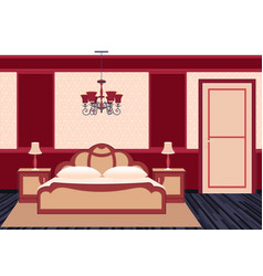 Classic bedroom interior in bright colors vector