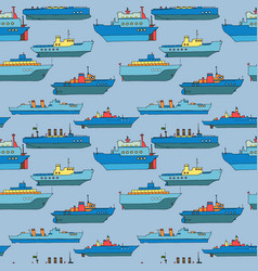 Seamless pattern with cartoon ships vector