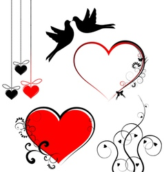 Set of valentines day symbols vector image