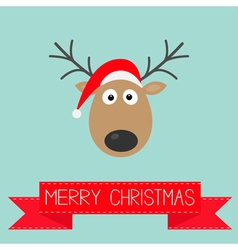 Cute cartoon deer with horns and red hat christmas vector