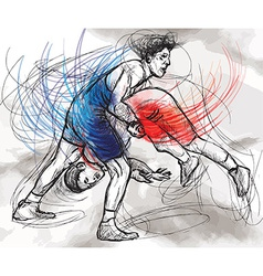 Greco-roman wrestling an hand drawn vector