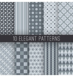 Grey elegant seamless patterns vector