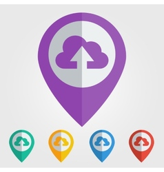 Flat pin with cloud upload icon vector