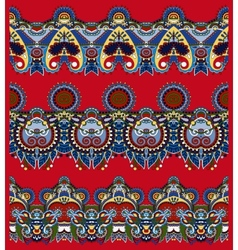 Red seamless ethnic floral paisley stripe pattern vector