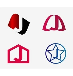 Set of abstract icons based on the letter j vector