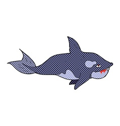 Comic cartoon killer whale vector