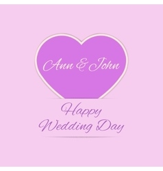 Wedding day card with purple heart vector