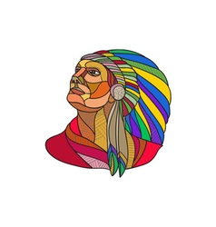 Native american indian chief headdress drawing vector