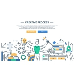 Creative process line design banner with many vector