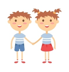 Twins happy kids holding hands boy and girl vector