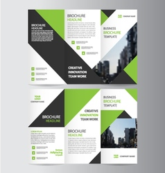 Green business trifold leaflet brochure template vector